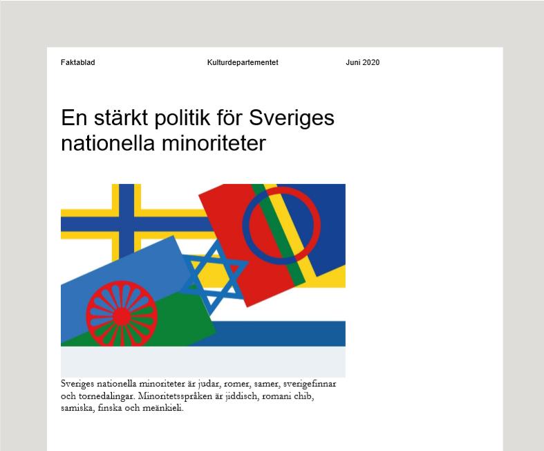 Bild av regeringens faktablad med flaggor från de fem natonella minoriteterna